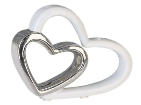 silver and white decorative hearts | double heart ornament